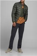 Green Zip Through Puffer Jacket