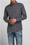 Charcoal Melange Button Down Shirt