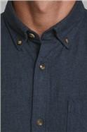Navy Melange Button Down Shirt