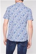 Short Sleeve Blue White Floral Print Shirt