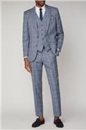 Blue Check Slim Fit Waistcoat