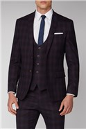 Burgundy and Navy Blue Check Suit