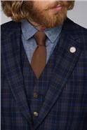 Blue and Brown Tartan Check Jacket