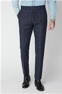 Navy and Grey Windowpane Check Trousers