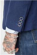 Gibson Blue Textured Waistcoat