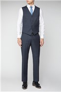 Navy Brown & Blue Checked Waistcoat