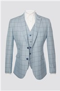 Light Blue with Blue Checked Waistcoat