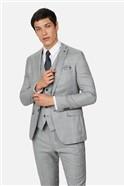 Grey Pale Blue Check Slim Suit Trousers