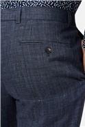 Linen Navy Check Slim Suit Trouser