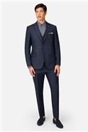 Navy Tonal Check Slim Fit Waistcoat