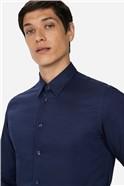 Navy Linen Slim Fit Shirt