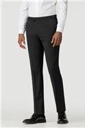 Black plain weave tailored fit dresswear trouser
