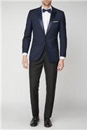 Navy Jacquard Tailored Fit Suit Jacket