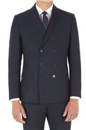 Navy Micro Design Slim Fit Suit Trousers
