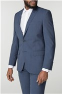 Blue Textured Wool Blend Tailored Fit Suit Trouser