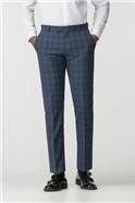 Airforce Blue Wool Blend Slim Trousers