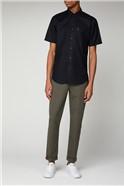 Black Short Sleeved Oxford Shirt