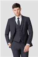 Blue Brown Check Tailored Fit Suit Jacket
