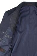 Navy Textured Regular Fit Travel Suit Trouser