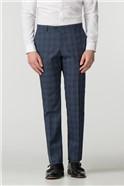Athletic Fit Blue Check Suit Trouser