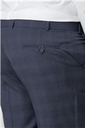 Blue Check Regular Fit Trousers