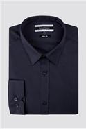 Navy Poplin Slim Fit Shirt