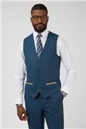 Dion Blue Herringbone Check Slim Fit Waistcoat