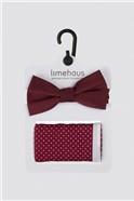 Burgundy Polka Dot Bow Tie & Hank Set