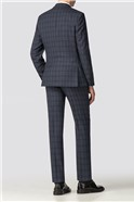 Navy Check Tailored Fit Suit Trouser