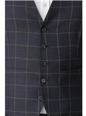 Navy Crepe Windowpane Waistcoat