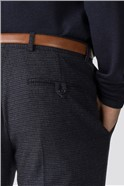 Navy Burgundy Check Tailored Fit Trousers