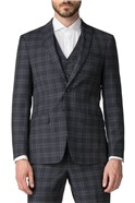 Stvdio Navy Green Check Slim Fit Ivy League Suit