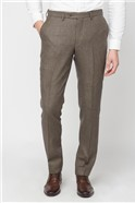 Brown Houndstooth Mixed Tailoring Wool Blend Tailored Fit Trouser