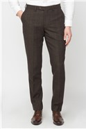 Brown Check Wool Blend Tailored Fit Trouser