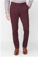 Burgundy Textured Diamond Weave Trousers