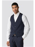 Farenheit Navy Wool Blend Waistcoat