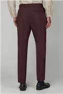 Burgundy Panama Athletic Fit Trousers