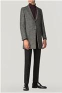 Sezy Black & White Check Overcoat