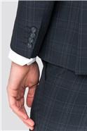 Navy Grey Check Slim Fit Trouser