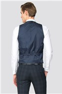 Navy Grey Check Slim Fit Waistcoat
