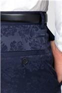 Navy Floral Slim Fit Suit Trouser