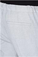 Grey Marl Linen Blend Drawstring Trouser