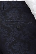 Navy Jacquard Flocked Slim Fit Trousers