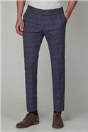 Slate Chambray Check Skinny Fit Suit Trousers