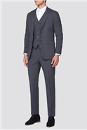 Branded Grey Blue Micro Textured Regular Fit Suit