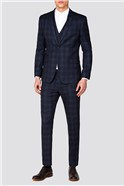 Branded Navy & Caramel Checked Suit