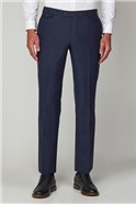 Blue Herringbone Formal Tailored Trousers