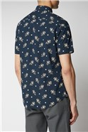 Navy Printed Floral Neps Shirt