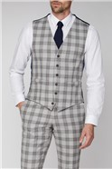 Grey Camel Check Tailored Fit Waistcoat