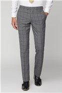 Soft Grey Check Tailored Fit Trouser